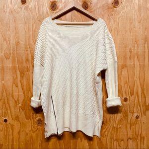 Oversized Cream Zipper Knit Swoop Neck Sweater